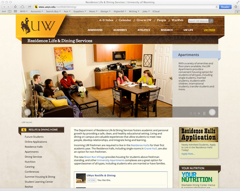 Residence Life & Dining Services Website